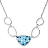 16 Inch Blue Preciosa Crystal Triangle Necklace Sterling Silver MPN: QG3452-16