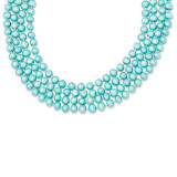 5.5-6mm Cultured Blue Pearl Single Strand Necklace Sterling Silver MPN: QH2292-100