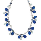 16 Inch Blue Crystal Lapis Amazonite Cultured Pearl Necklace Sterling Silver MPN: QH2342-16
