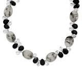 16 Inch Tourmalinated Quartz Black Agate Clear Quartz Necklace Sterling Silver MPN: QH2530-16