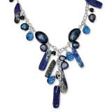 16 Inch Blue Sandstone Dark Blue Cultured Pearl Necklace Sterling Silver MPN: QH2673-16