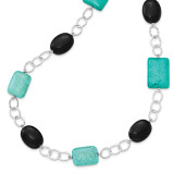 28 Inch Black Agate & Dyed Blue Howlite Necklace Sterling Silver MPN: QH2681-28