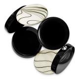 Black Agate & Zebra Mother of Pearl Stretch Bracelet Sterling Silver MPN: QH4518