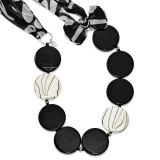 30 Inch Black Agate Zebra Mother of Pearl & Fabric Necklace Sterling Silver MPN: QH4518-30