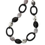 30 Inch Black Agate Tourmalinated Quartz Necklace Sterling Silver MPN: QH4521-30