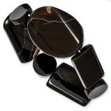 Black Agate Stretch Bracelet Sterling Silver MPN: QH4522