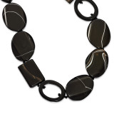 22 Inch Black Agate & Cut-out Oval Sardonyx Necklace Sterling Silver MPN: QH4523-22