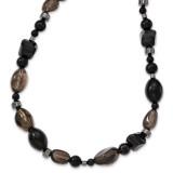 Black Agate Hematite & Smokey Quartz Necklace Sterling Silver MPN: QH4532-30