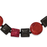 16 Inch Black Agate & Reconstituted Red Coral Necklace Sterling Silver MPN: QH4548-16