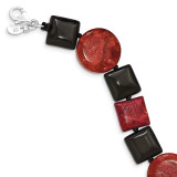 7.5 Inch Black Agate & Reconstituted Red Coral Bracelet Sterling Silver MPN: QH4548-7.5
