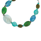 16 Inch Blue & Green Agate Jasper Howlite Turquoise Necklace Sterling Silver MPN: QH4578-16