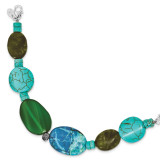 8 Inch Green Agate Crazy Lace Jasper Howlite Turquoise Bracelet Sterling Silver MPN: QH4578-8