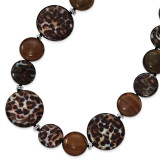 17 Inch Agate Gold & Black Crystal Mother of Pearl Necklace Sterling Silver MPN: QH4714-17