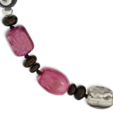 7.5 Inch Black Purple & Botswana Agate Bracelet Sterling Silver MPN: QH4720-7.5