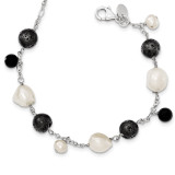 7 Inch Cultured Pearl Black Agate Lava Rock Extension Necklace Sterling Silver MPN: QH5033-7