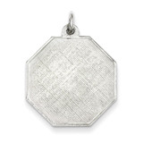Octagon Patterned Disc Charm Engraveable Sterling Silver MPN: QM481/18