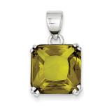 Square Light Green Diamond Pendant Sterling Silver MPN: QP1020