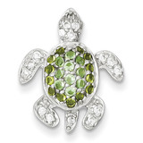 Clear, Green and Blue Diamond Turtle Pendant Sterling Silver MPN: QP1857