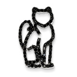 Black Diamond Black Rhodium Plating Cat Slide Pendant Sterling Silver MPN: QP2097