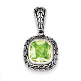 Light Green Diamond Pendant Antiqued Sterling Silver MPN: QP2151