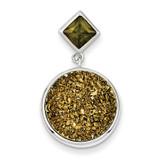 Yellow Druzy & Green Diamond Round Pendant Sterling Silver MPN: QP2442