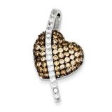 Black Rhodium, Clear, Champagne Heart Pendant Sterling Silver Diamond MPN: QP2762
