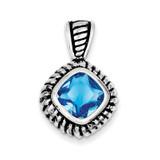 Blue Glass Pendant Antiqued Sterling Silver MPN: QP963