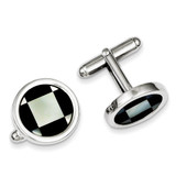 Mother of Pearl and Black Enamel Cufflinks Sterling Silver MPN: QQ448