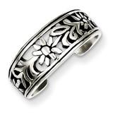 Flower Toe Ring Antiqued Sterling Silver MPN: QR1917