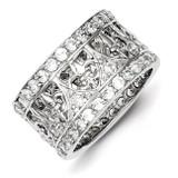 Fleur-de-lis Band Sterling Silver Diamond MPN: QR2083-6