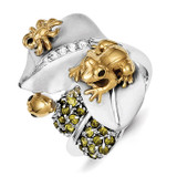 Gold-Plated Toad & Bugs on Satin Diamond Leaf & Green Diamond Lily Pa Sterling Silver MPN: QR2809-7