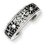 Floral Toe Ring Antiqued Sterling Silver MPN: QR767