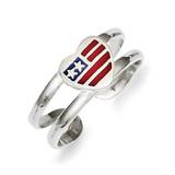 Flag Heart Toe Ring Sterling Silver Enameled MPN: QR779
