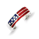 Flag Toe Ring Sterling Silver Enameled MPN: QR780