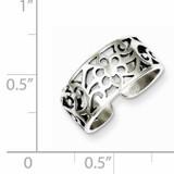 Floral Toe Ring Antiqued Sterling Silver QR782