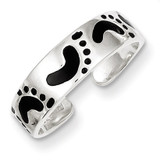 Black Enameled Feet Toe Ring Sterling Silver MPN: QR801