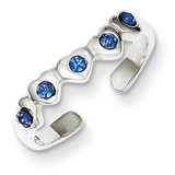 Blue Diamond Heart Toe Ring Sterling Silver MPN: QR823