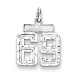Number 69 Charm Sterling Silver MPN: QSN69