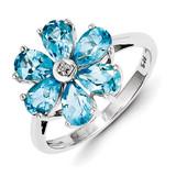 Lt Swiss Blue Topaz & Diamond Flower Ring Sterling Silver Rhodium MPN: QDX512