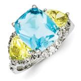 Blue & Light Green Diamond Ring Sterling Silver MPN: QR2137