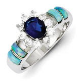 Opal & Blue Diamond Ring Sterling Silver MPN: QR2152