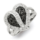 Black & Clear Diamond Heart Ring Antiqued Sterling Silver MPN: QR2171