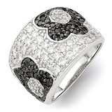 Black & Clear Diamond Floral Ring Sterling Silver Rhodium MPN: QR2172
