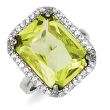 Rectangle Clear & Lt. Green Diamond Ring Sterling Silver MPN: QR2209