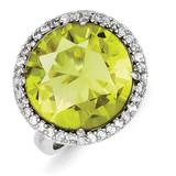Clear & Lt. Green Diamond Ring Sterling Silver MPN: QR2214
