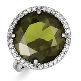 Clear & Green Diamond Ring Sterling Silver MPN: QR2222
