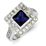 Dark Blue Square Diamond Ring Sterling Silver MPN: QR2253