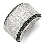 Clear & Black Diamond Ring Sterling Silver Rhodium MPN: QR2745