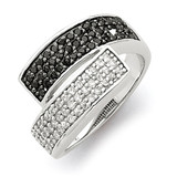 Black and Clear Diamond Overlapping Ring Sterling Silver Rhodium MPN: QR2754
