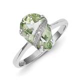 Pear Green Quartz & Diamond Ring Sterling Silver Rhodium MPN: QR2787